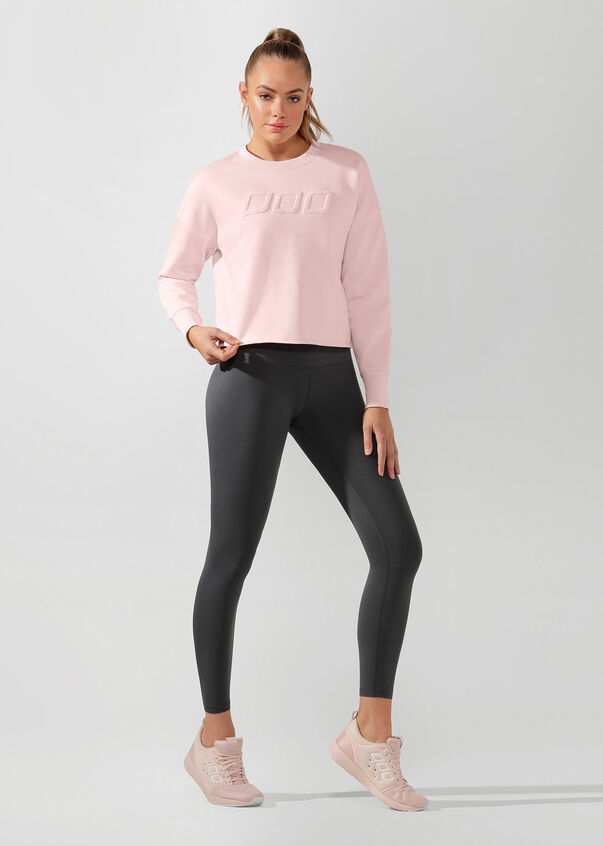 Iconic Cropped Sweat, Pale Peony, hi-res