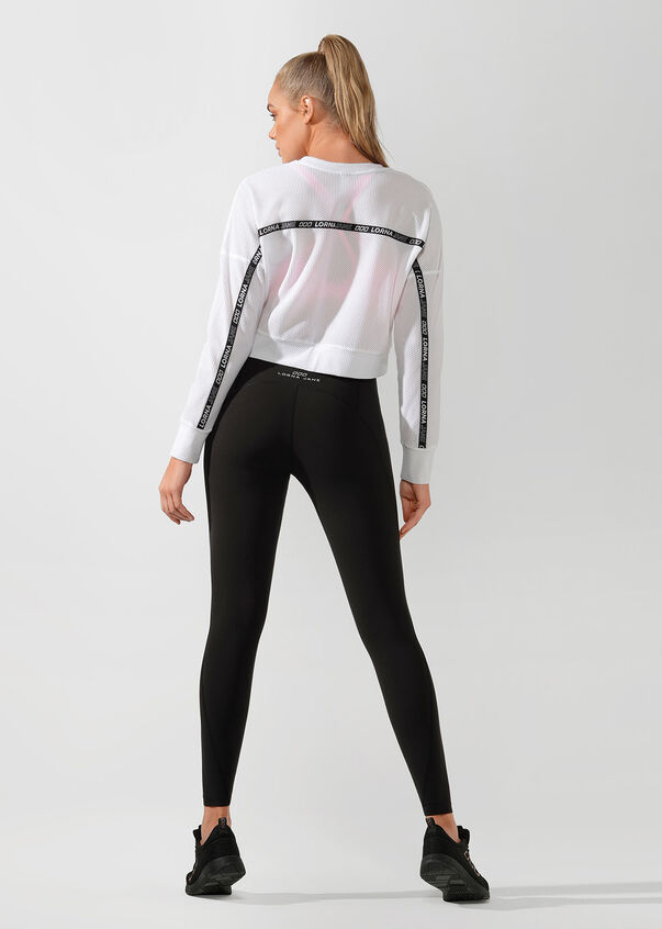 Action Mesh Cropped Active Top, White, hi-res
