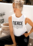 Fierce Cropped Tank, White, hi-res