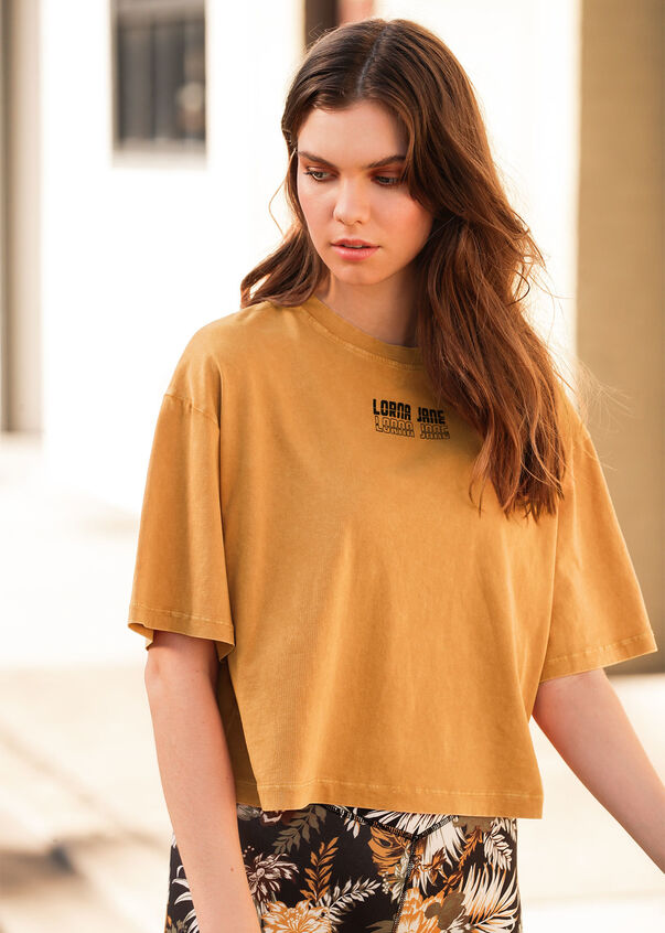 Retro Classic Cropped Tee, Hot Mustard, hi-res