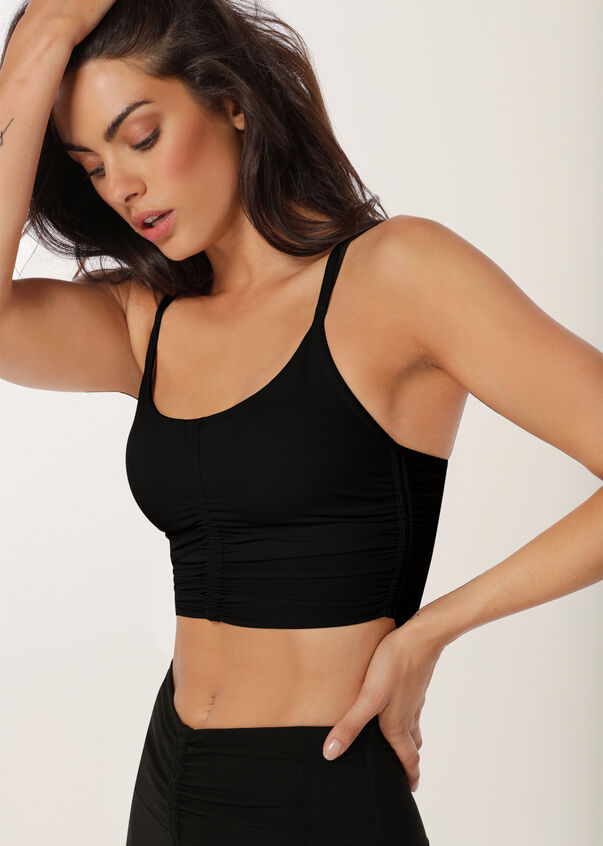 Emphasise Long Line Sports Bra, Black, hi-res