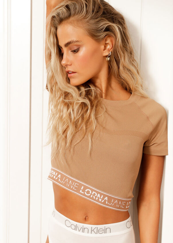 Iconic Cropped Seamless Tee, Biscuit, hi-res