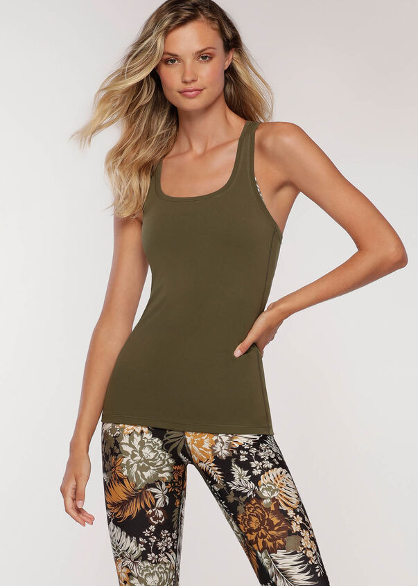 Phone Pocket Active Tank, Dark Khaki, hi-res