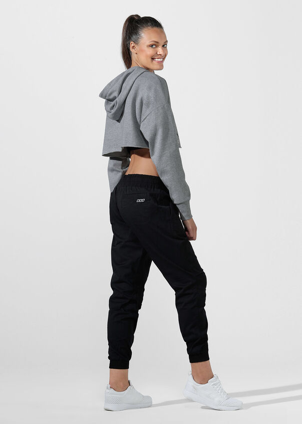 LJ Cut Off Cropped Hoodie, Mid Grey Marl, hi-res